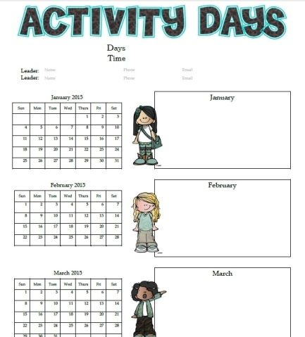 activity day calendar 2015 - January to December, color AND black and white, PDF AND Word