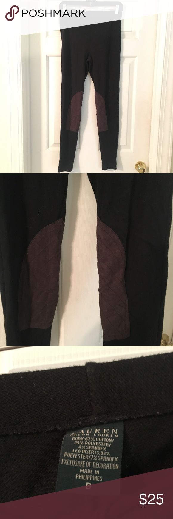 Ralph Lauren Riding Leggings Knit riding leggings with brown soft leather like material on the inside of the legs. Looks super cute with riding boots and a flannel. Runs a little tight but fits a true medium fine Ralph Lauren Pants Leggings