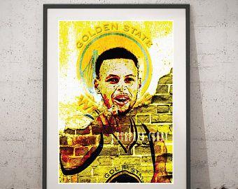 Stephen Curry Printable Poster, Golden State Warriors Digital Art, Stephen Curry Print Portrait, Stephen Curry Wall Art, Home Decor Prints