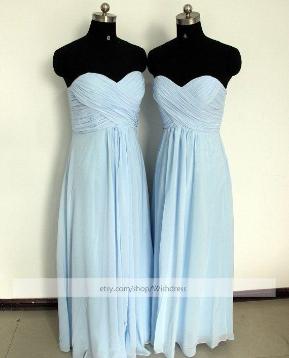 Strapless Sweetheart Light Sky Blue Bridesmaid Dress/ Ruched Long Bridesmaid Dress/ Wedding Party Dress/ Floor Length Mismatch Dress on Etsy, $109.00