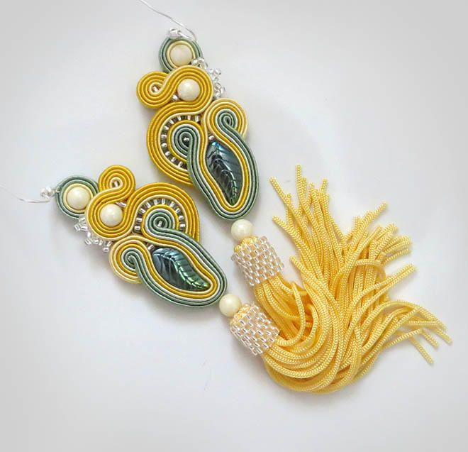 Excited to share the latest addition to my #etsy shop: Yellow Tassel Earrings summer earrings Bright earrings soutache earrings gift for sister summer jewelry for women gift boho earrings http://etsy.me/2o3qx2c #yellowearrings #soutache #sutaszula