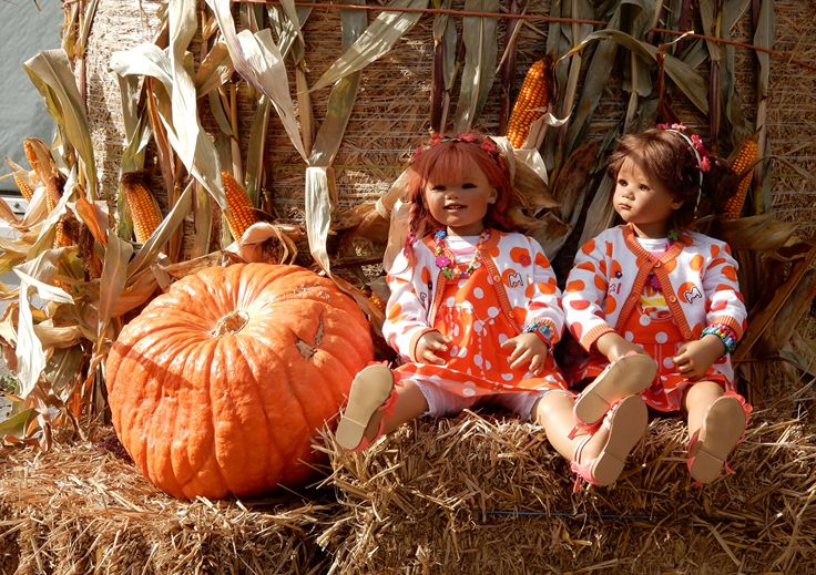Pictures Little girls Germany Doll Grugapark Essen Two Corn Autumn Nature Pumpkin Parks Hay 2