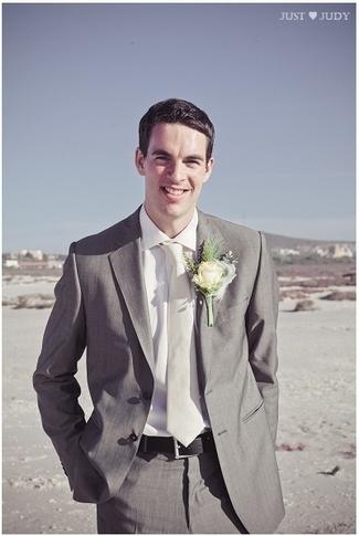 Handmade Rustic Beach Wedding {Strandkombuis Beach} | Confetti Daydreams Grey groom suit