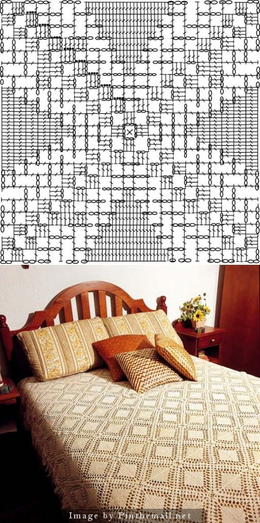 Filet crochet bedspread square. Very simple but the way the squares are designed, once joined they have a diamond effect that looks really nice. A short fringe here; I would prefer a lace edging. ~~ Pilar Peña's Picasa Web Album ~~ https://picasaweb.google.com/101891994119511923251