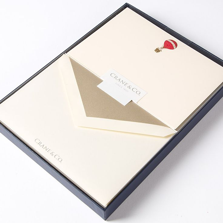 Hot Air Balloon Engraved Flat Correspondence Cards by Crane & Co. (Set of 10)