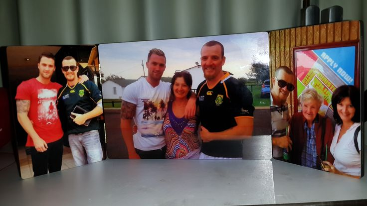 Save your party pics on wooden photo panels