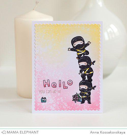 Mama Elephant Stamp Highlight: Tiny Ninjas @akossakovskaya #cardmaking #mamaelephant