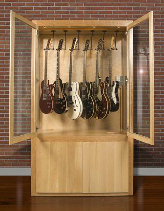 guitar collector display case cherry
