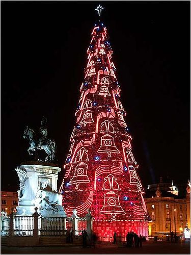 This Christmas tree is in the Square of Commerce in Lisbon, Portugal