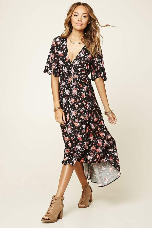 09f8106c7c Forever 21 Floral Print Wrap Midi Dress | Beauty Snap | Dresses ...