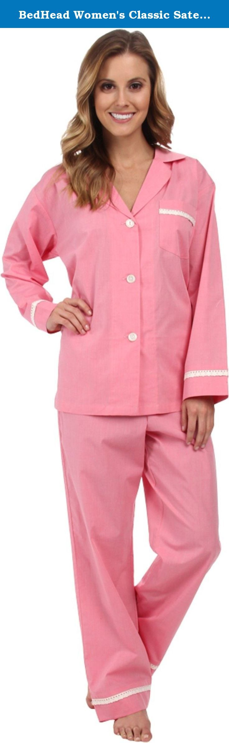 BedHead Women's Classic Sateen PJ Dusty Pink Pajama Set XS (US 2-4). Classic pajama set is fabricated from luxuriously soft and smooth cotton sateen. Long-sleeve top boasts a notched collar, chest patch pocket, and button front. Pajama pant features a lightly elasticized waist and drawstring tie for an easy, adjustable fit. Allover solid piping supplies elegant style. BedHead pajamas are celebrity favorites, often appearing on prime-time TV and in leading magazines. 100% cotton. Machine…