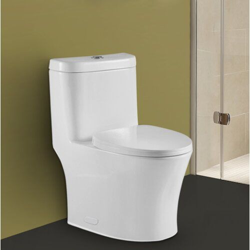 Betula Dual Flush Elongated One Piece Toilet Seat Included Toilet Back To Wall Toilets Modern Toilet