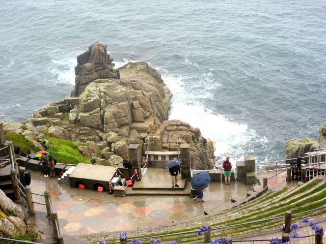 PORTHCURNO:  Stage of the Minack Theatre, Cornwall https://destinationfiction.blogspot.ca/2016/10/coastal-marvels-of-cornwall.html