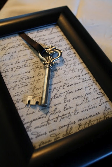 This would be great to do with the key to grandma's house.  Frame it with a picture of the house.  I am SO doing this!