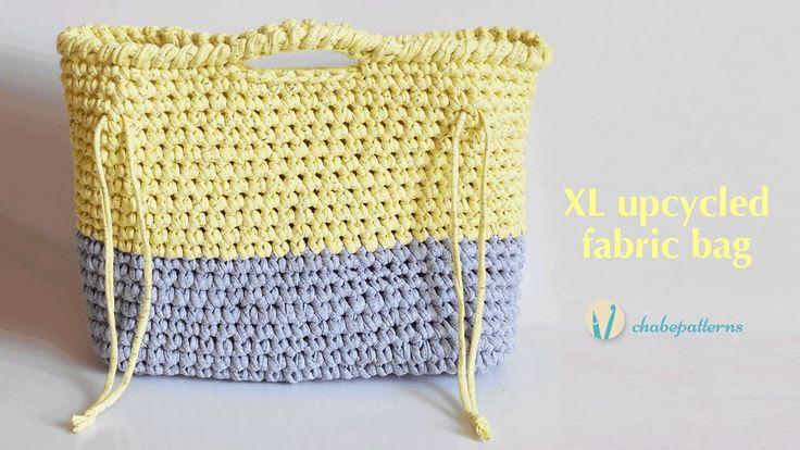 XL upcycled fabric bag