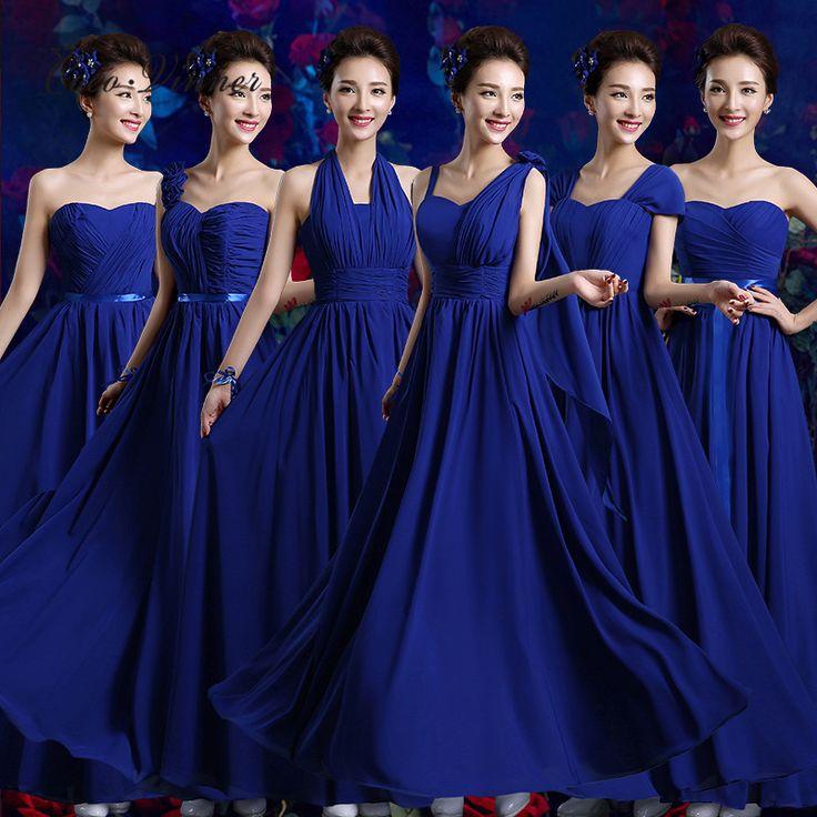 C.V Maat Size plus size lange bruidsmeisjekleding 2017 blauw paars wit kleur 6 stijlen Prom jurk feestjurk vrouwen