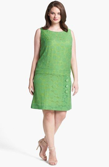 Tahari Jacquard Drop Waist Shift Dress (Plus Size) available at #Nordstrom