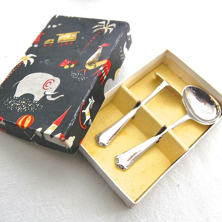 British MidCentury Vintage EPNS Silver Plated BABY Feeder Spoon & Pusher with original Gift Box - Sheffield England by LeGrenierLondon on Etsy
