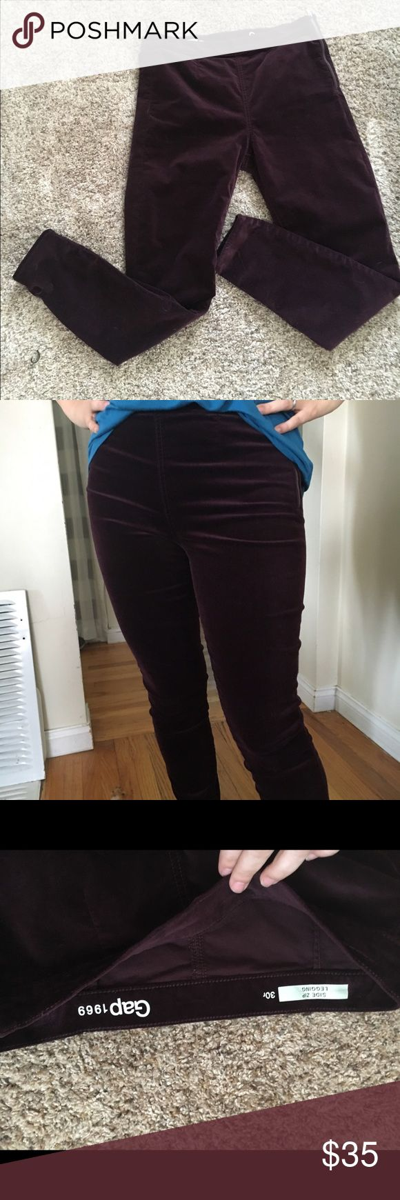 """Gap velvet maroon burgundy skinny legging pants 30 Why I getting rid of these side zip leggings? I know they fit perfectly. I am generally an 8 or 10p, and these are a size 30. I am a big fan of the program called """"dressing your truth"""" and I'm realizing this is just not my color. Is it yours?  Bundle for 30% off!  Also, I am 5'4"""", 135 lbs and these are perfecto!  28 inch ankle length inseam, but on me they aren't an ankle fit :) GAP Pants Skinny"""