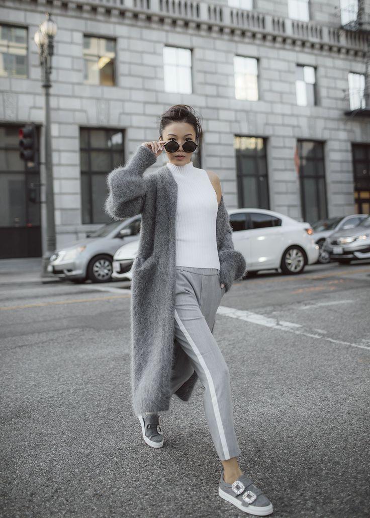 7 ways to wear the fuzzy long coat byTSANG season II the fuzzy in dove grey