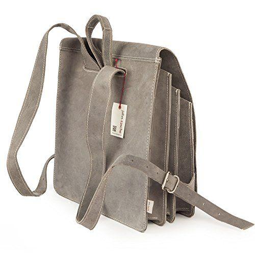 Sehr Großer Lederrucksack / Lehrerrucksack Größe XL aus Büffel-Leder, für Damen und Herren, Grau, Modell 670