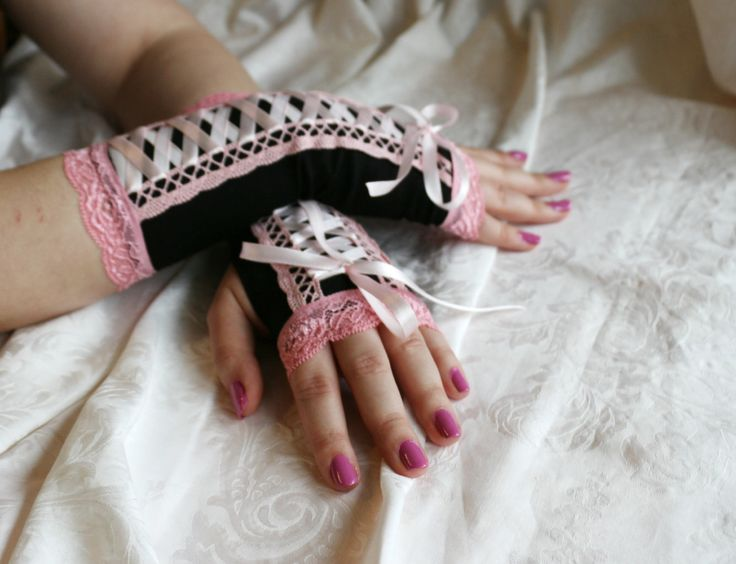 Black-pink laced up gothic armwarmers fingerless gloves by AlicesLittleRabbit on Etsy