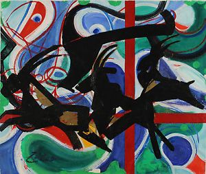 a hans zern zeroo 1943 composicion abstracta con chivos de cabra