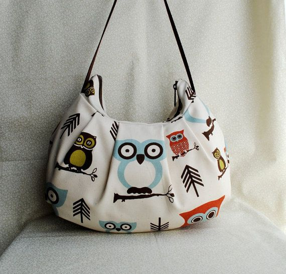 Pleated Bag // Shoulder Purse  Cute Owl by lireca on Etsy, $35.00