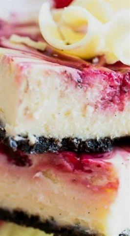 Barres au chocolat et aux gâteaux au fromage aux framboises et chocolat blanc   – Dessert :)