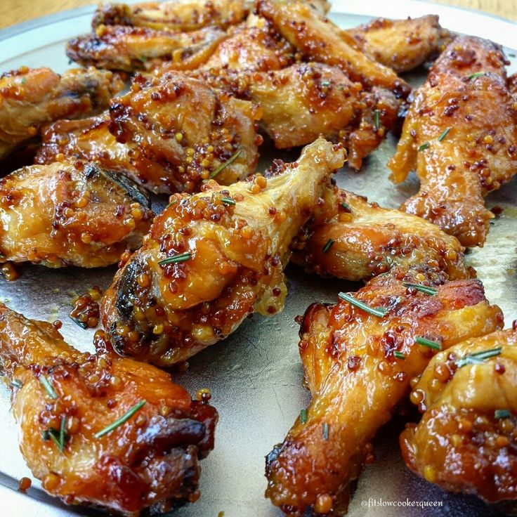Do edit pin for my notes Slow Cooker Honey-Dijon Wings (need to make own mustard) I made oven roasted (on rack)using Alton Browns homemade mustard 50% and honey 50% roasted 20-25 min each side @400. Sprinkled with fresh tarragon before serving. Watch drippings, from being burned