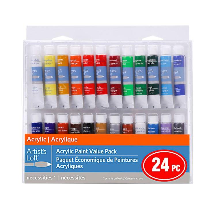 24 color acrylic paint value pack by artists loft