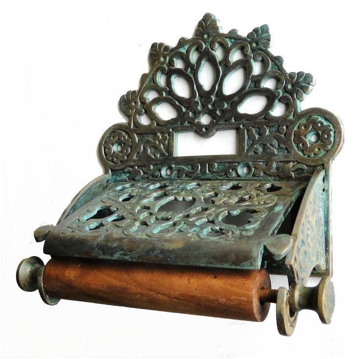 Tiffany fnsh Brass French Victorian Toilet Paper Holder w Fan Top replica    eBay