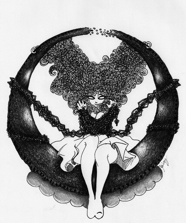 35€  For specific information, contact me on the page of the link I left in my profile. Thank you #moon #macabre #curly #artwork #draw #oldschool #pencil #china #girl #doom