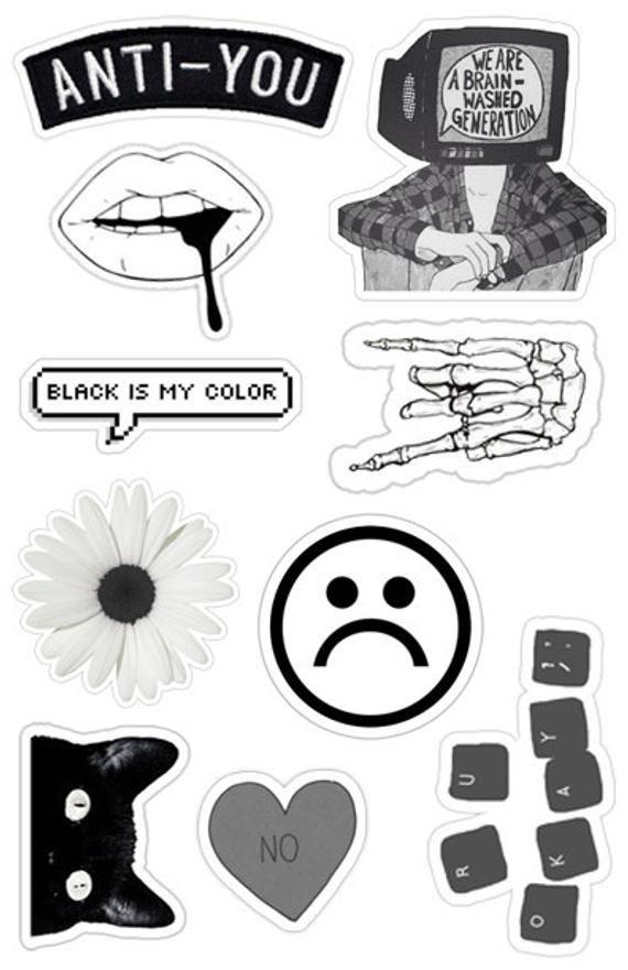 Black White Grunge Sticker Pack 10 Etsy Pegatinas Tumblr Pegatinas Pegatinas Bonitas