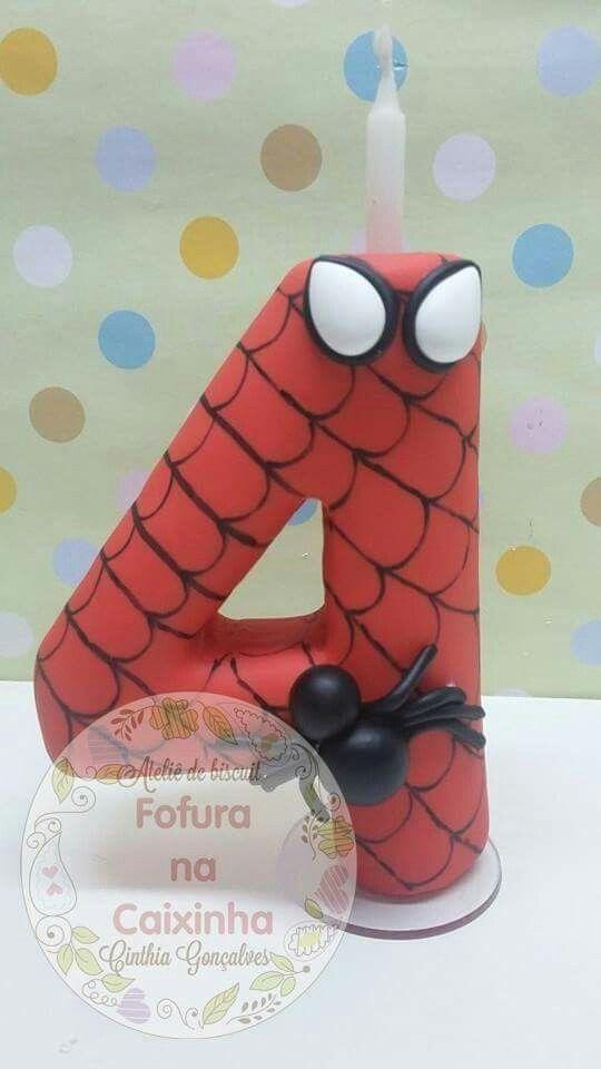 Vela homem aranha / topo de bolo/ biscuit/ porcelana fria