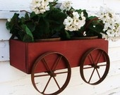 Planter Box Wall Hanging Wagon Rustic Iron Wheels Farmhouse Industrial Cottage Beach Home Decor Red