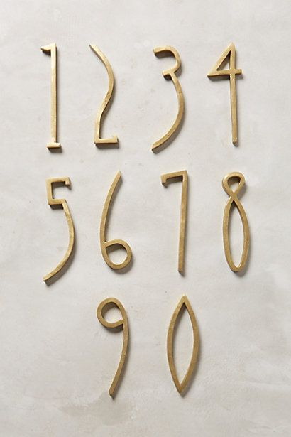 hand welded funky gold house numbers