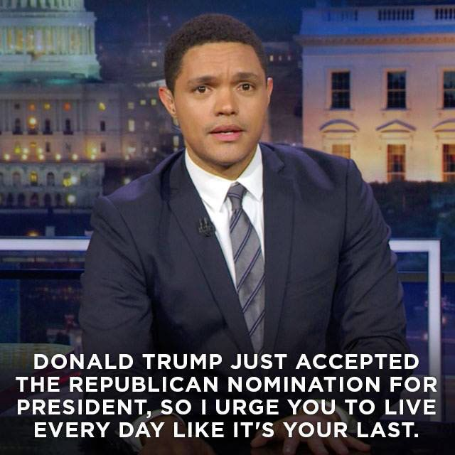 Funny Quotes About Donald Trump by Comedians and Celebrities: Trevor Noah's Advice to Americans