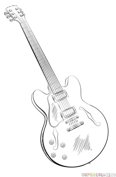 How to draw an electric guitar step by step. Drawing tutorials for kids and beginners.