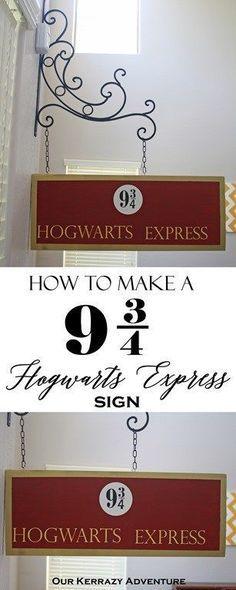 9 3-4 Harry Potter DIY Tutorial- Hogwarts Express Sign- Harry Potter Party Ideas