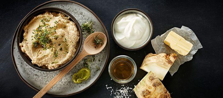 Sellerihummus med wasabi og æblecidereddike