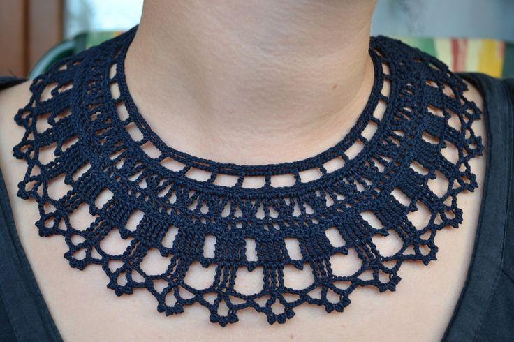 collana di stoffa all'uncinetto nera, collier di Hanci su DaWanda.com