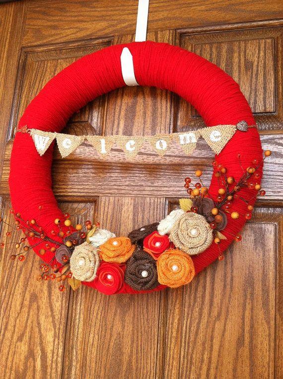 18 inch Fall Yarn Wreath with Burlap and Felt Flowers, Welcome Yarn Wreath, Thanksgiving Yarn Wreath, Handcrafted Yarn Wreath