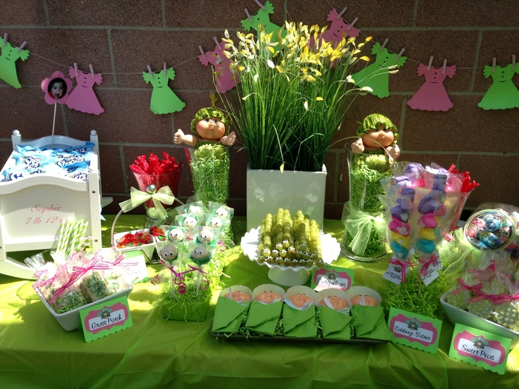 """Cabbage patch party sweet table  Please """"like """" us on Facebook https://www.facebook.com/2Craftysistersstore"""