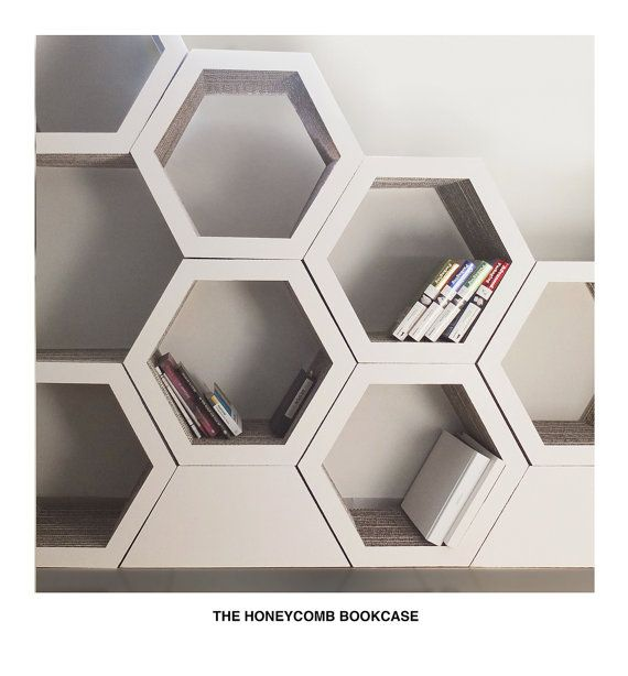 Honeycomb bookcase. Set Of 3. White. Grey. Recyclable Cardboard Bookcase.
