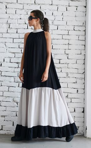 Black and Beige Long Dress/Sleeveless Maxi Black от Metamorphoza