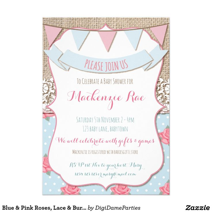 Blue & Pink Roses, Lace & Burlap Party Invitation by The Digi Dame Parties on Zazzle www.zazzle.com/digidameparties*
