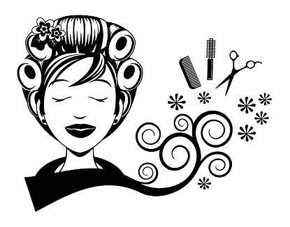 Decoración de peluquerías con vinilos decorativos Rulos, tijeras, cepillo y tijeras 04828
