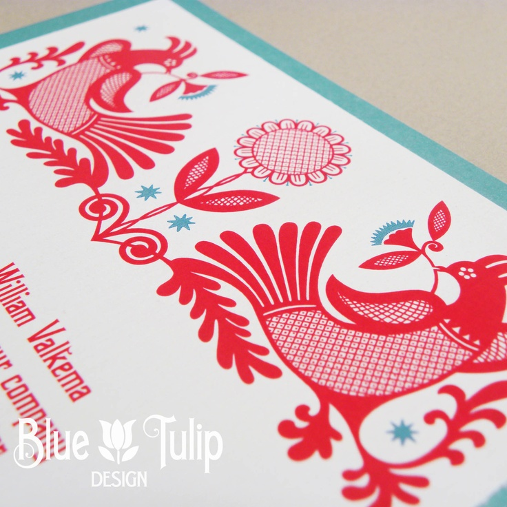 Scandinavian Love Birds Wedding Invitation by Blue Tulip Design