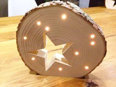 Holz, Licht, Stern1Standfläche und Baumscheibe schleifen2Stern ausschneiden3Löcher für die Lichterkette bohren4Nochmal schleifen5Lichterkette einfädeln - fertig